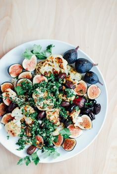 Cauliflower Salad with Figs, Olives, and Chimichurri roasted cauliflower with figs and olives // brooklyn supperroasted cauliflower with figs and olives // brooklyn supper Fig Recipes, Vegetable Recipes, Salad Recipes, Whole Food Recipes, Vegetarian Recipes, Cooking Recipes, Healthy Recipes, Recipes Dinner, Delicious Recipes