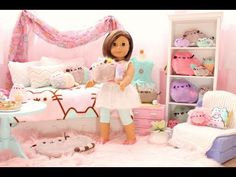 American Girl Doll Pusheen Cat Room - YouTube