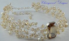 Choker Swarovski Crystal Choker Necklace by CherrywoodCrystal, $158.00