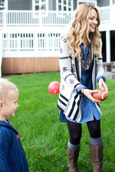 Fall Fashion - Pair a denim dress with boots and leggings. Add a cardigan for another layer.
