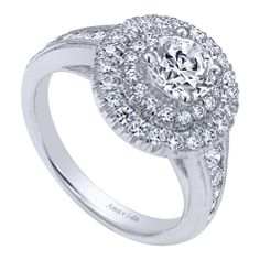 14k White Gold Halo Engagement Ring. Very Beautiful! #engagementrings #Amavida #Redfordjewelry