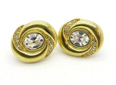 Vintage Rhinestone Gold Tone Clip-on Earrings Napier Oval