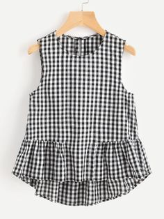 Buttoned Keyhole Tiered Hem Gingham Shell Top Only US$9.00