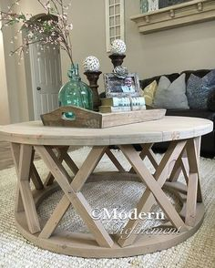 rustic round farmhouse coffee table. Just the right accent piece to add to your home. The table is handmade, solid wood, coffee table, rustic, farmhouse, home decor, living room, diy, style, beach, (aff link)