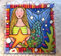 Shining Mermaid with Star in BubblesCarved Wood by SummerHouseGal