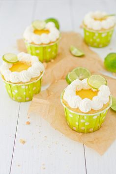 Key Lime Pie Cupcakes (I have to get those baking cups)