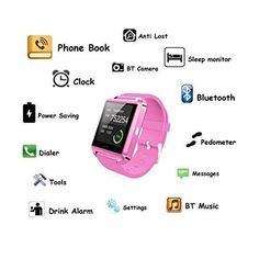 Bluetooth Smart Watch iOS Android Sim Pedometer Sleep Tracker Anti Lost Pink NEW #SmartWatchiOSAndroid Technology Gifts, Wearable Technology, Smartwatch Ios, Newest Cell Phones, Sim, Smart Watch, Cell Phone Accessories, Bluetooth, Android