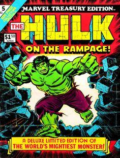 Incredible Hulk Marvel Treasury Edition, cover by John Romita Sr. Hulk Comic, Hulk Marvel, Marvel Comic Books, Comic Books Art, Comic Art, Spiderman, Thing 1, Classic Comics, Incredible Hulk