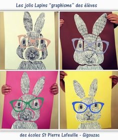 Voilà de jolis lapins à faire à la maison avec les enfants ou en classe dans le cadre d'un atelier dessins et collages créatifs..Comment dessiner un lapin graphisme : tutoriel lapin graphisme