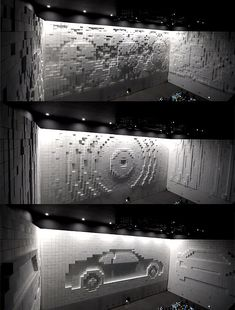 he 'Hyper-Matrix Cube Wall' is an art installation that does just that. Developed by Korean interactive artist JônPaSang for the Hyundai Motor Group, the interactive wall was created out of a massive grid of white styrofoam cubes, each approximately 1 foot x 1 foot in size, moving in and out to form patterns and various impressions on the surface of the wall.