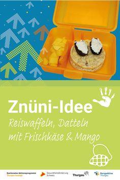 #Znüni #gesunde Ernährung Wir zeigen dir, was du deinem Kind im April in die Znünibox packen kannst. Schau dir die Video-Anleitung an oder lies unsere Schritt-für-Schritt-Anleitung. Du benötigst folgende Materialien und Zutaten: Reiswaffeln, Datteln, Frischkäse, Mango, Messer, Schneidebrett. Schritte: 1. Datteln halbieren und mit Frischkäse bestreichen 2. Mango halbieren 3. Mango mit Schachmuster einschneiden und umstülpen 4. Fruchtfleisch abtrennen 5. Znünibox füllen 6. Fertig ist das Znüni Mango, Knives, Healthy Food, Meat, Health, Manga