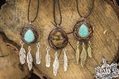 handmade by me! listed on my etsy. wood burned bohemian boho gypsy style pendants sealed in a heavy duty epoxy for durability from the elements. tigers eye and turquoise inlaid by hand and stung on waxed cotton each has a one of a kind mandala burned onto the front surface.