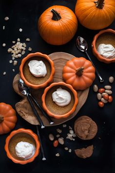 These gluten-free baked pumpkin custards with maple mascarpone take just 10 minutes to prepare, & are the perfect way to end a fall dinner. Pumpkin Custard, Baked Pumpkin, Pumpkin Recipes, Fall Recipes, Pumpkin Spice, Pumpkin Tea, Pumpkin Mousse, Fall Dinner, Marzipan