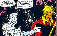 Though I loved Avengers: Infinity War I did miss the savage moments between The Silfer Surfer and Adam Warlock in the orignal Infinity Gauntlet storyline. Hope these 2 characters meet at some point in the MCU. Comic Book Characters, Comic Books Art, Adam Warlock, Avengers Infinity War, Marvel Cinematic Universe, Savage, Marvel Comics, Avatar, Fandoms