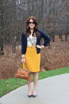 reindeer tee + mustard pencil skirt + navy cardigan + cognac bag