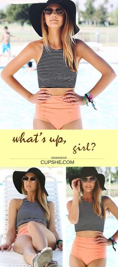 Time to get high & mighty. The bikini sets features striped tank top and high-waisted bottom. Give this summer the last hit! What are you waiting for?Check this at CUPSHE.com