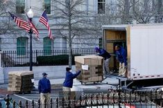 moving boxes arrive at the White House