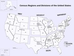 United States Regional Map Favorite Places Spaces Pinterest - Us census regions and divisions map