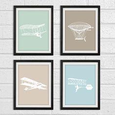Boys airplane nursery art  vintage airplanes   by ModernArtDeco, $38.00