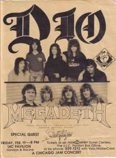 Dio during the Dream Evil tour in Chicago with Megadeth and Savatage Music Flyer, Concert Flyer, Tour Posters, Band Posters, Musica Metal, Acid Rock, Heavy Metal Art, James Dio, Psychedelic Music