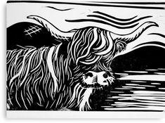 Highland Cow Lino Print