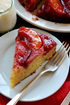 Nectarine Upside-Down Cake, gluten free, gf, gluten free cake