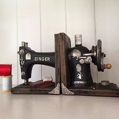 Vintage Singer Sewing Machine Shelf Tidy Book Ends – Heavy Storage Retro Hipster for sale online