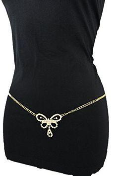Trendy Fashion Jewelry Women Fashion Metal Belly Belt Hip Waist Thin Chain Butterfly Charm Gold S M L