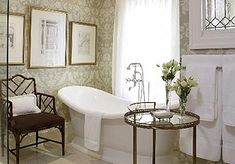 Loving the vintage chair by this slipper soaker tub.  Can I dive in?