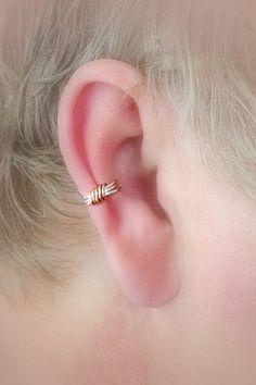 Ear Cuff Silverplate/Copper Wire Wrap Dainty Two by TheLazyLeopard