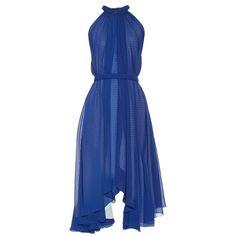 Saloni Iris halterneck dress ($450) ❤ liked on Polyvore featuring dresses, blue, cobalt blue dress, halter dress, retro halter dress, handkerchief hem dress and retro dress