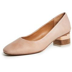 Coclico Shoes Epic Block Heel Pumps (1.335 RON) ❤ liked on Polyvore featuring shoes, pumps, nude, wood heel shoes, nude leather shoes, leather sole shoes, nude block heel shoes and chunky-heel pumps