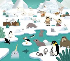 Cherche et trouve les animaux is a seek and found book for kids. Polo Norte, Artic Animals, Frog Illustration, Animal Art Projects, Penguin Art, Sea Ice, Hidden Pictures, Christmas Illustration, Arctic