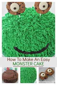 Ideas Cookies Monster Cake For Boys Easy Kids Birthday Cakes, Monster Birthday Cakes, Novelty Birthday Cakes, Monster Birthday Parties, Birthday Cake Girls, Homemade Birthday, Monster Cakes, Monster Party, 16th Birthday