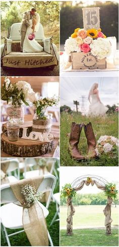 Chic Rustic Burlap and Lace Country Wedding Decoration Ideas