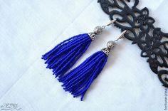 Купить Серьги - кисточки синие - украшения ручной работы, бижутерия ручной работы, авторские украшения