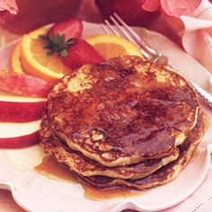 Applesauce Pancakes. Treat your family to a special breakfast with a stack applesauce-sweetened pancakes drizzled with sugar-free syrup. The wheat germ that's stirred into the batter adds fiber as well as a hearty nutty flavor.
