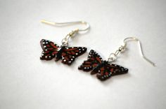 Hand-Painted Monarch Butterfly Earrings by wehnerdogcreations