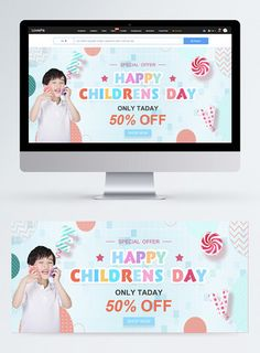 Color children's day promotion web banner happy childrens day,children,happy,celebrate,discount,child,colourful,cartoon,web banner#Lovepik#template
