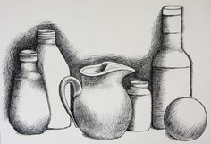 It's a still life drawing that has some elements of cross hatching and shading. Description from arts101b.blogspot.com. I searched for this on bing.com/images