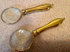 Vintage Mini magnify glass  pendant gold by Frenchsteelbeadshop