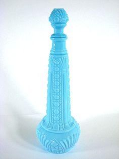 Blue Milk Glass Bottle