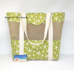 Beach Bag, Vinyl Mesh Tote, Wasabi Green, Starfish, Sea Star, Seashells, Sand Toy Summer Tote Bag, Pool Sports Mesh Bag, By BagsOnTheBeach by BagsOnTheBeach on Etsy Summer Tote Bags, Beach Tote Bags, Sand Toys, Sack Bag, Simple Bags, Market Bag, Casual Bags, Vinyl, Crossbody Shoulder Bag