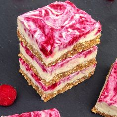 These vegan raspberry cheesecake bars are completely raw, and make with natural ingredients. Indulge in this healthy cheesecake treat!
