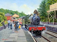 Railway art print by the artist Wynne Jones GRA. Llangollen Station with a Great Western Railway 'Manor' class steam engine with a train to Corwen. Train Posters, Railway Posters, Diesel, Tube Train, Old Steam Train, Steam Railway, Train Art, Holland, Art Uk