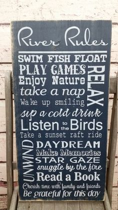 River Rules Sign Distressed Rustic Primitive Typography subway