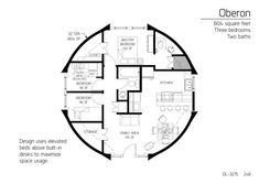Dome home: 804 ft sq, / Space useage, secondary bedrooms can use loft … - dome house The Plan, How To Plan, Cob House Plans, House Floor Plans, Monolithic Dome Homes, Earth Bag Homes, Dome House, Built In Desk, Geodesic Dome