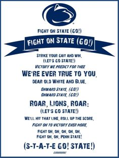 A free Penn State fight song printable I made