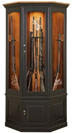 Metro Corner Gun Cabinet Handcrafted From Solid Oak Wood Also Available In Cherry