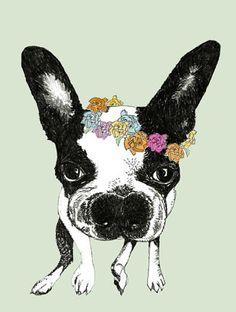 Springtime boston terrier thank you notes - set of four. $10.00, via etsy.